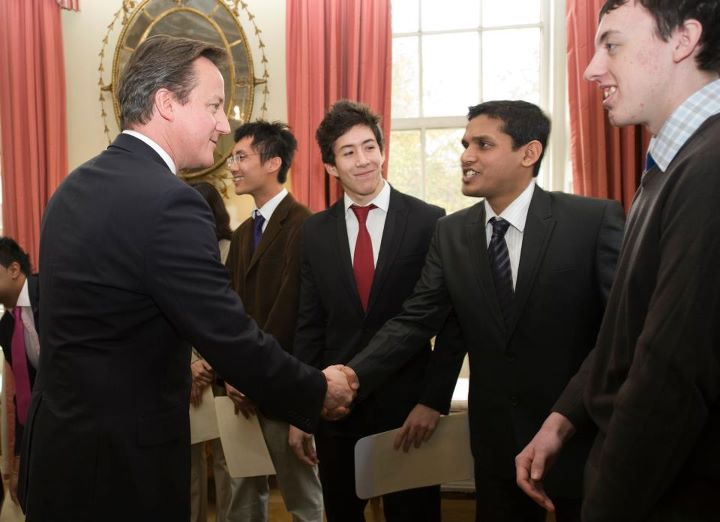 The Prime Minister, Britain congratulating creators of the Emergency App, from Southampton University, winners of the silicon valley competition to design consumer applications using new open public data (the one who shakes hands with the PM is Mr. Unmesh G)